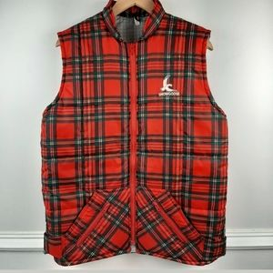 Vintage Snow Goose Plaid Quilted Vest Mens Medium